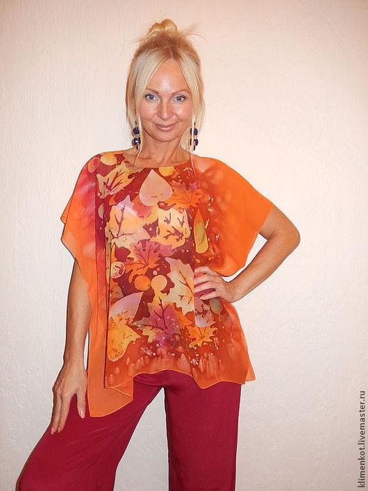 Блузки ручной работы. Ярмарка Мастеров - ручная работа. Купить блуза прямая - Листопад 1. Handmade. Рыжий, блузка, листья