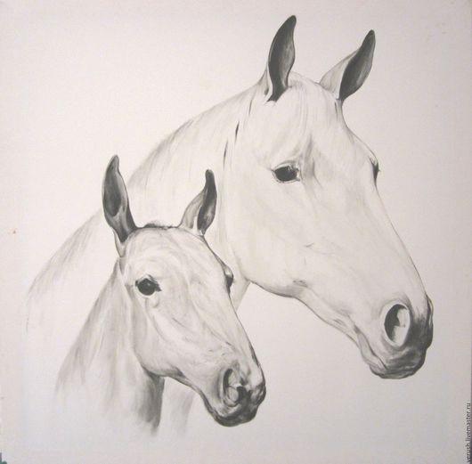 """Животные ручной работы. Ярмарка Мастеров - ручная работа. Купить Картина """"Лошади"""". Handmade. Чёрно-белый, картина в подарок"""