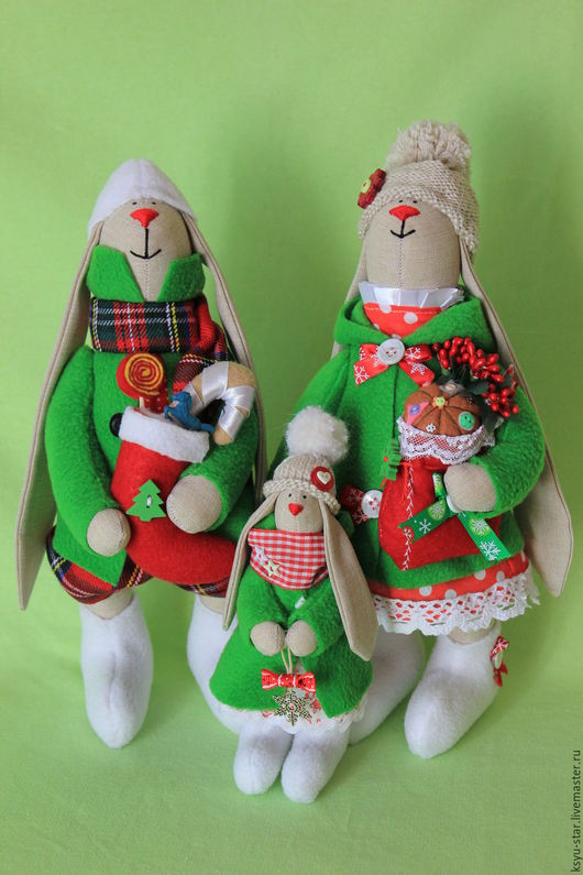 Игрушки животные, ручной работы. Ярмарка Мастеров - ручная работа. Купить Зимняя семья. Handmade. Зеленый, заяц игрушка, подарок