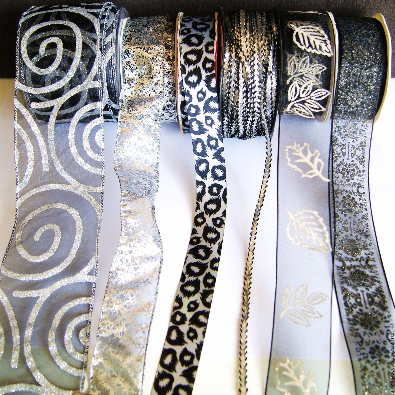 ленты  Черные с серебром для упаковки и отделки.