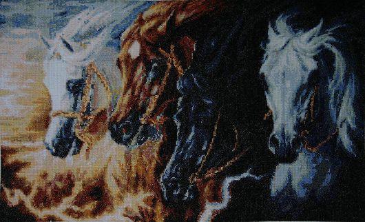 """Животные ручной работы. Ярмарка Мастеров - ручная работа. Купить Вышитая картина"""" Четыре коня"""". Handmade. Вышитая картина"""