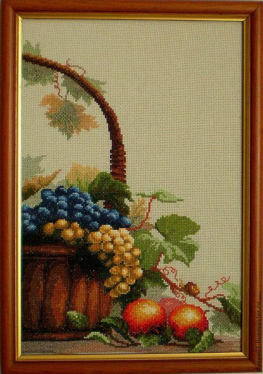 Натюрморт ручной работы. Ярмарка Мастеров - ручная работа. Купить Панно''Корзина с фруктами''. Handmade. Мятный, фрукты, натюрморт с фруктами