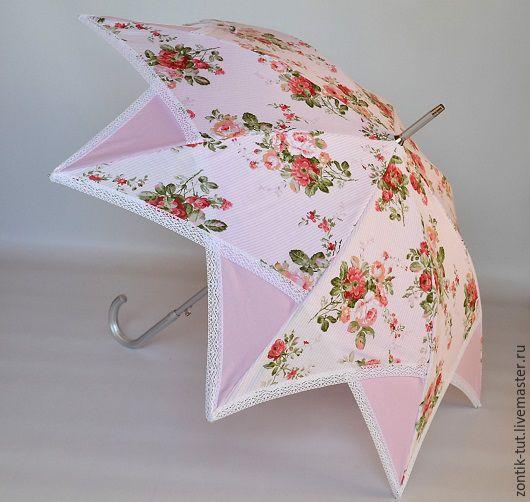 """Зонты ручной работы. Ярмарка Мастеров - ручная работа. Купить Зонт от солнца """" Виктория"""". Handmade. Розовый, защита, цветочный"""