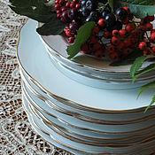 Винтаж handmade. Livemaster - original item White and gold plates of the Kuznetsov Partnership. Handmade.