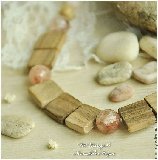 """Колье, бусы ручной работы. Ярмарка Мастеров - ручная работа. Купить Колье """"Розовое Море"""". Handmade. Дерево, розовый, колье"""