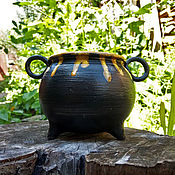 Посуда handmade. Livemaster - original item Witch`s Cauldron with yellow potion. Handmade.