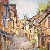 """Картины и панно ручной работы. Ярмарка Мастеров - ручная работа Батик """"Старинный французский городок"""". Handmade."""