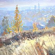 """Картины и панно ручной работы. Ярмарка Мастеров - ручная работа Картина пейзаж с натуры  """"Осень. Вид на Яхрому"""". Handmade."""