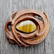 Украшения ручной работы. Ярмарка Мастеров - ручная работа Брошь деревянная с тигровым глазом. Handmade.