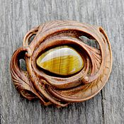 Украшения handmade. Livemaster - original item a wooden brooch with a tiger`s eye. Handmade.