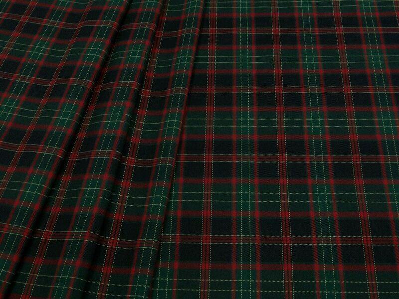 Ткань костюмная клетка стрейч т.синяя с зелёным  , КЛ 01 цв.1, Ткани, Москва,  Фото №1