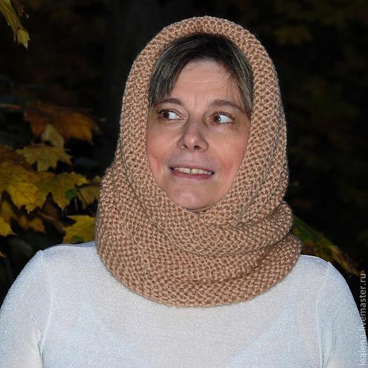 """Шали, палантины ручной работы. Ярмарка Мастеров - ручная работа. Купить Снуд-шарф """" Осенний"""" (полушерсть). Handmade. Бежевый"""