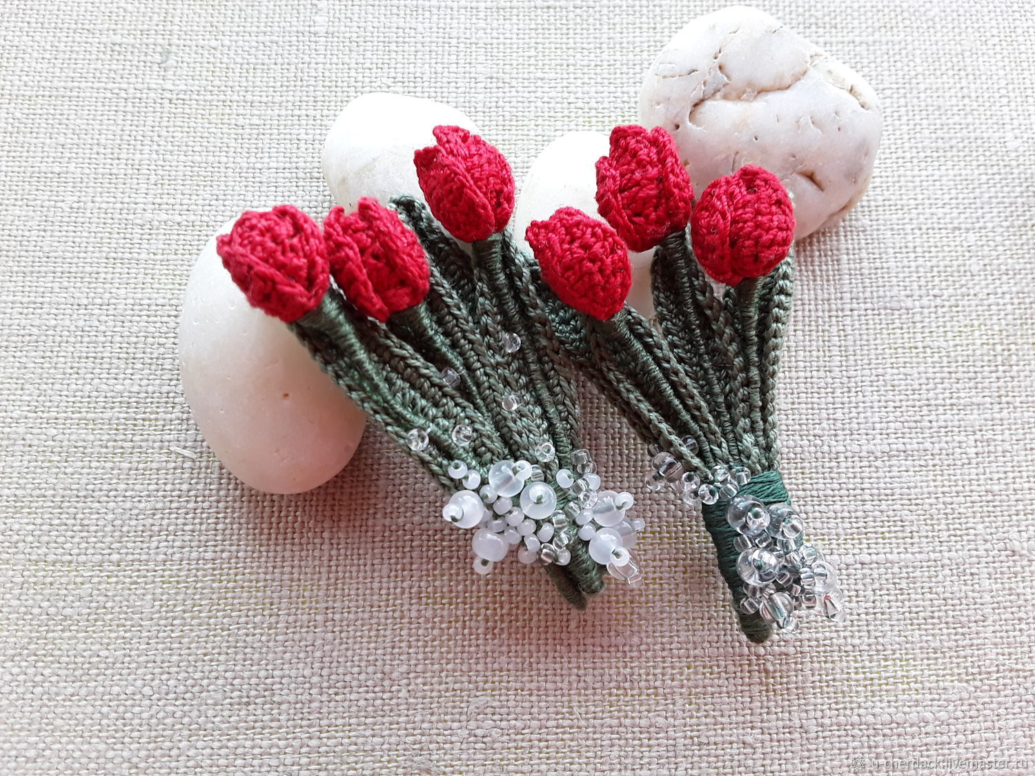 Brooch-pin: Bouquet of red tulips, Brooches, Pavlovsky Posad,  Фото №1