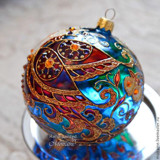 Стеклянный елочный шар с витражной росписью `Ночь` из комплекта ``Райский сад`