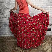 Одежда ручной работы. Ярмарка Мастеров - ручная работа Юбка из штапеля Прованс (кораллово-красная). Handmade.