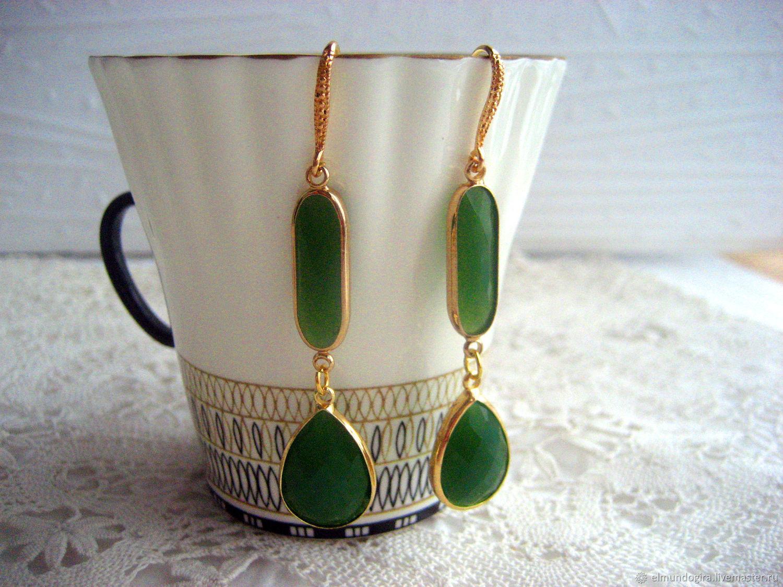 Natural Green Jade Earrings, Earrings, Moscow,  Фото №1