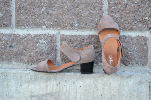 Обувь ручной работы. Ярмарка Мастеров - ручная работа. Купить Босоножки женские  с ремешком на липучке. Handmade. Коричневый, Каблук