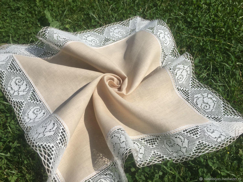 Linen napkin 'Roses' 70 *70 cm, Swipe, Ivanovo,  Фото №1