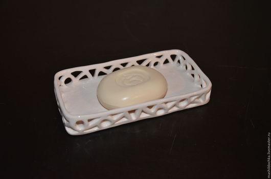 Ванная комната ручной работы. Ярмарка Мастеров - ручная работа. Купить мыльница ажурная длинная. керамика. Handmade. Белый, мыловарение
