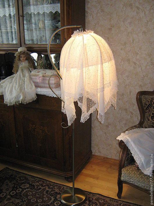 Освещение ручной работы. Ярмарка Мастеров - ручная работа. Купить высокий светильник с кружевами. Handmade. Светильник, ночник, АБАЖУР