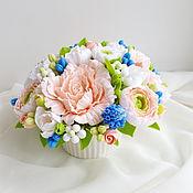 Цветы и флористика ручной работы. Ярмарка Мастеров - ручная работа Букет из полимерной глины розы с мускари. Handmade.