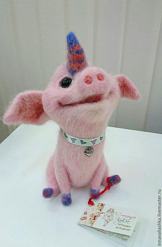 Игрушки животные, ручной работы. Ярмарка Мастеров - ручная работа. Купить Свинорожек. Handmade. Бледно-розовый, интерьерная игрушка