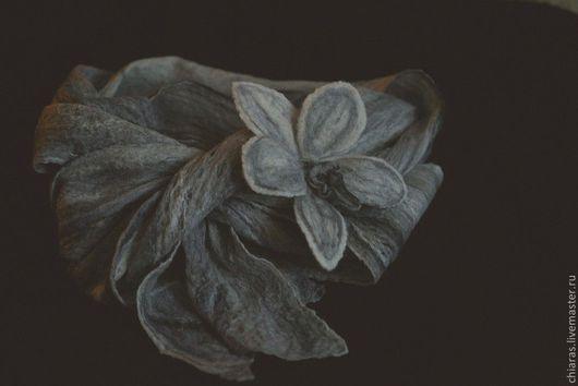 Шарфы и шарфики ручной работы. Ярмарка Мастеров - ручная работа. Купить шарф паутинка и брошь орхидея (черно-белые сны). Handmade.