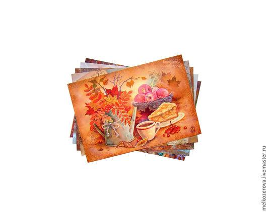 """Открытки на все случаи жизни ручной работы. Ярмарка Мастеров - ручная работа. Купить Комплект открыток """"Тёплый"""". Handmade. Бежевый коричневый"""