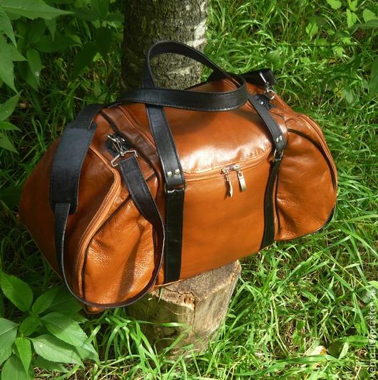 Спортивные сумки ручной работы. Ярмарка Мастеров - ручная работа. Купить Дорожная, спортивная  сумка кожаная. Handmade. Рыжий