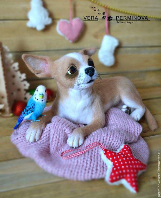 Коллекционные куклы ручной работы. Ярмарка Мастеров - ручная работа. Купить Чихуахуа по имени Грейс и волнистый попугай по имени Арчи. Handmade.