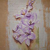 Картины и панно ручной работы. Ярмарка Мастеров - ручная работа Вышивка крестом Голубой гладиолус (Blue Gladiolus). Handmade.