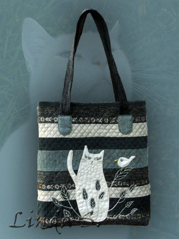 """Женские сумки ручной работы. Ярмарка Мастеров - ручная работа. Купить сумка """"Белый кот"""". Handmade. Кот в подарок, артквилт"""