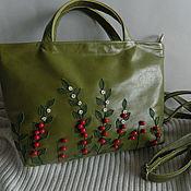 Сумки и аксессуары handmade. Livemaster - original item Leather bag. bag with applique. Cranberry. green classics. Handmade.