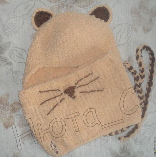 Шапки и шарфы ручной работы. Ярмарка Мастеров - ручная работа. Купить Комплект плюшевый. Handmade. Шапочка, теплый, зверошарф