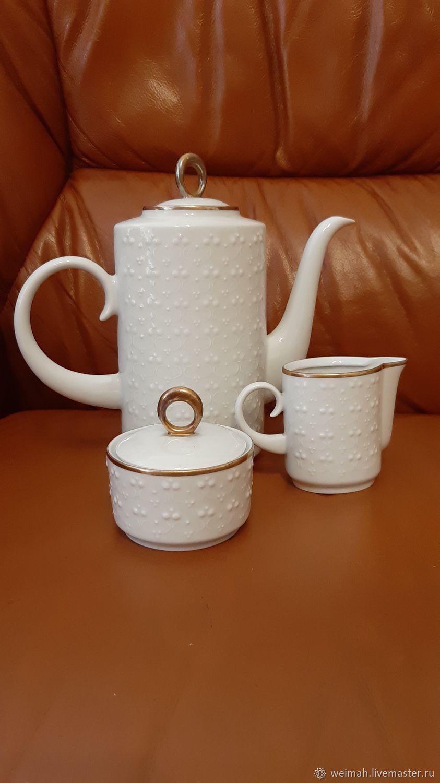 Freiberg Germany coffee tea Troika 1960-Diamond decor, Vintage sets, Leipzig,  Фото №1