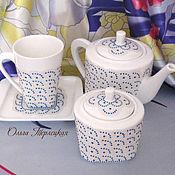 """Посуда ручной работы. Ярмарка Мастеров - ручная работа Набор чайной посуды """"Эгоист"""" фарфор. Чайный сервиз. Handmade."""
