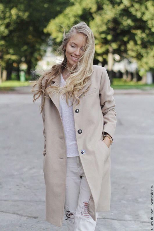 Верхняя одежда ручной работы. Ярмарка Мастеров - ручная работа. Купить Пальто классического кроя. Handmade. Бежевый, классика, беж