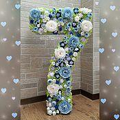 """Объемные цифры и буквы ручной работы. Ярмарка Мастеров - ручная работа Цифра """"7"""" (100 см) с пионами в голубых тонах. Handmade."""