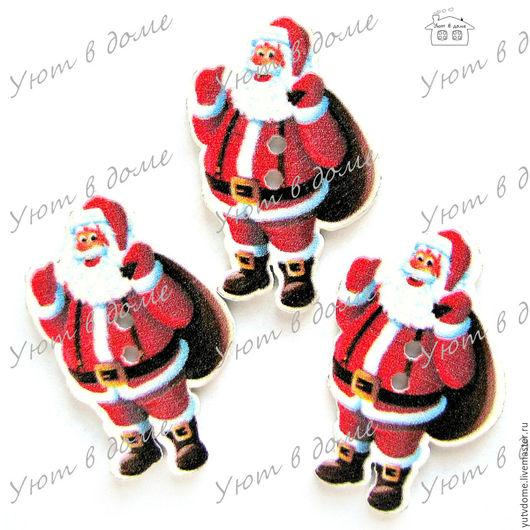 """Шитье ручной работы. Ярмарка Мастеров - ручная работа. Купить 0510 Пуговицы деревянные """"Дед Мороз"""". Handmade. Дерево"""