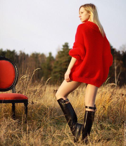 Кофты и свитера ручной работы. Ярмарка Мастеров - ручная работа. Купить Красный свитер. Handmade. Ярко-красный, присобранный рукав