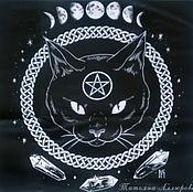 handmade. Livemaster - original item BLACK CAT tablecloth for divination or ritual, 47 x 47 cm. Handmade.