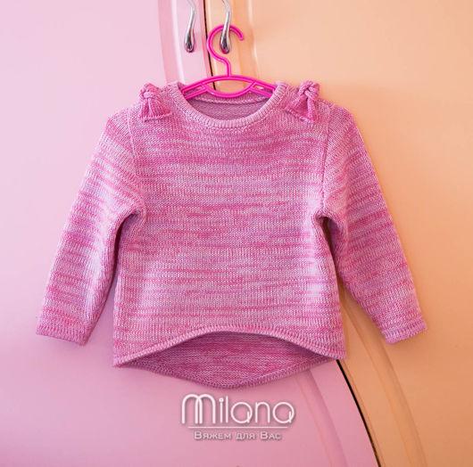 Одежда для девочек, ручной работы. Ярмарка Мастеров - ручная работа. Купить Вязаный меланжевый свитерок.. Handmade. Розовый, детская одежда