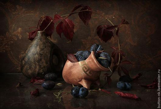Фотокартины ручной работы. Ярмарка Мастеров - ручная работа. Купить Натюрморт Когда наступает осень. Handmade. Бордовый, тёмно-синий