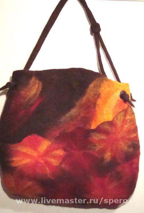 Женские сумки ручной работы. Ярмарка Мастеров - ручная работа. Купить астры. Handmade. Коричневый