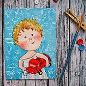 """Картины ручной работы. Ярмарка Мастеров - ручная работа Картина """"Моя любимая красная машинка"""". Handmade."""