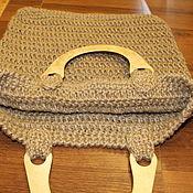 Сумки и аксессуары handmade. Livemaster - original item Jute bag is big. with wooden handle. Handmade.