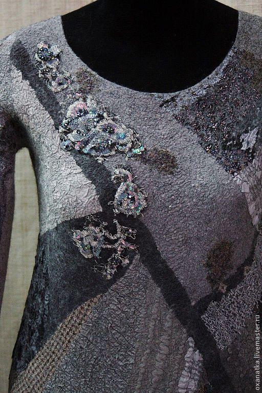 Кофты и свитера ручной работы. Ярмарка Мастеров - ручная работа. Купить Валяный свитер Яшма. Handmade. Серый, одежда из войлока