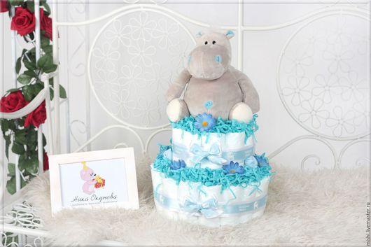 Подарки для новорожденных, ручной работы. Ярмарка Мастеров - ручная работа. Купить Торт из подгузников памперсов подарок для новорожденного. Handmade. Голубой