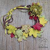 Колье ручной работы. Ярмарка Мастеров - ручная работа Колье из кожи Золотая осень. Handmade.