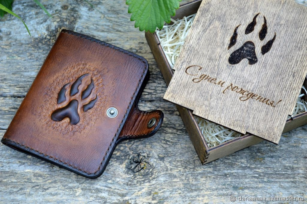 Men's leather wallet 'Wolf paw' gift. packaging, Wallets, Sizran,  Фото №1